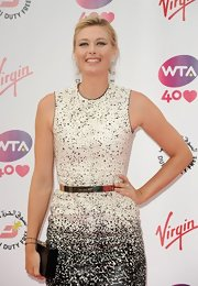 Maria Sharapova carried a simple yet elegant black box clutch when she attended the pre-Wimbledon party.