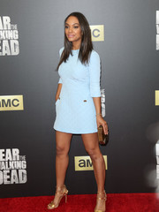 Lyndie Greenwood looked adorably chic in a quilted pastel-blue mini dress by Madderson London at the 'Fear the Walking Dead' season 2 premiere.