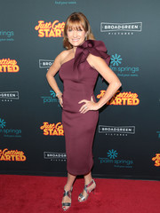 Jane Seymour got dolled up in a ruffle-trimmed plum one-shoulder dress for the premiere of 'Just Getting Started.'