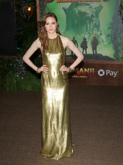 Karen Gillan looked radiant in a sleeveless gold gown by Reem Acra at the premiere of 'Jumanji: Welcome to the Jungle.'