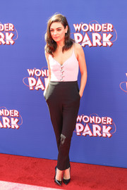 Mila Kunis was cool and chic in a two-tone jumpsuit by David Koma at the premiere of 'Wonder Park.'
