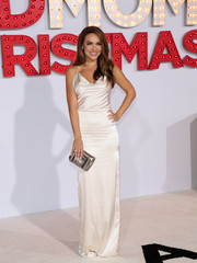 Chrishell Stause looked alluring in a draped white silk gown at the premiere of 'A Bad Moms Christmas.'