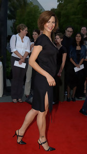 Catherine Bell added a touch of edginess to her look with a pair of studded black pointy pumps.