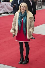 Lisa Rogers sported a hippie-style suede jacket with fleece trim to the Prince's Trust and Success Awards.