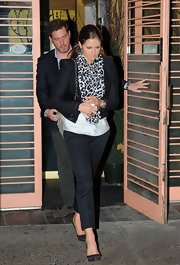 Princess Madeleine wore a classic pair of ankle length chinos as she exited Nippon restaurant after having dinner with her mother.