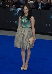 Between the patterned top and textured skirt Jessica Brown-Findlay had one amazing dress at the 'Prometheus' premiere.