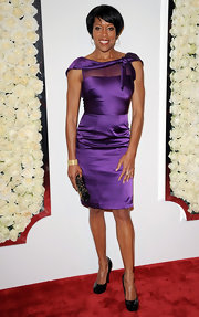 Regina King looked darling at the QVC Style event in a sheer-panel purple cocktail dress with knotted detailing on the neckline.