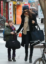 Rachel Weisz opted for a classic wool coat for her daytime look in New York.