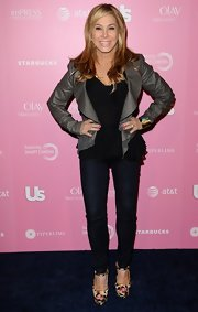 Adrienne Maloof looked fiercely chic in her cropped jacket, skinnies, and leopard-print platform sandals.