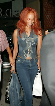 Tyra clearly isn't afraid to break the rules and wear denim on denim!