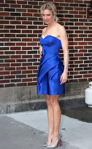 What would work better with Renee's cobalt frock that silver, disco-ball Louboutins?!
