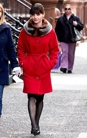 Christina Ricci was a retro queen on the set of 'Pan Am' in a crimson coat with a fur collar.