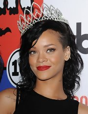 "Rihanna was as pretty as a princess in this sparkly tiara after being crown ""Queen of the West Hollywood Halloween Carnival."""