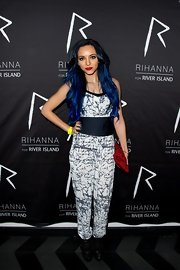 Jade Thirlwall showed her unique style with this white and blue jumpsuit.