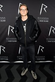 Oliver Proudlock looked casual and cool at the River Island after party in this black zip-up jacket with leather sleeves.