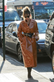 Rita Ora was punk-glam in a camel-colored vinyl trenchcoat by Ellery while out and about in New York City.