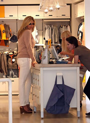 Penny Lancaster wore a pair of brown wedges while shopping in Beverly Hills.