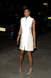 Tolula Adeyemi wore this crisp white and ecru shift dress to the Rodial Beautiful Awards.