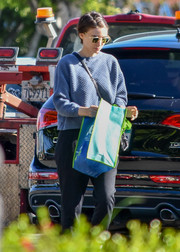 Rooney Mara looked cozy in a blue crewneck sweater while running errands.