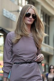Rosie Huntington-Whiteley left her long hair get wind-swept while walking around NYC.