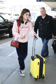 A yellow rollerboard rounded out Rowan Blanchard's colorful ensemble.