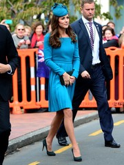 Kate Middleton looked smart in a crisp blue Emilia Wickstead dress with long sleeves and a pleated skirt while attending church service in New Zealand.
