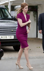 Princess Beatrice looked stunning in a deep merlot day dress while out for the Chelsea Flower Show.