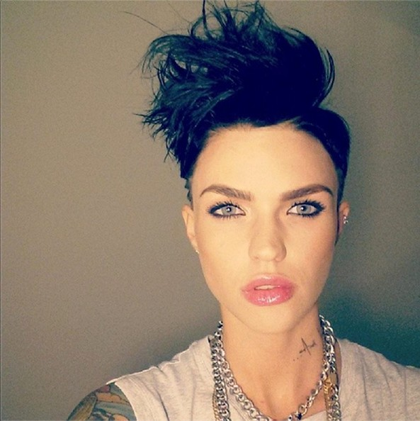Ruby Rose Fauxhawk [hair,face,eyebrow,lip,hairstyle,forehead,beauty,black hair,head,chin,hairstyle,instagram,twitter,celebrity,model,lip,forehead,social media pictures,image,photograph,ruby rose,orange is the new black,stella carlin,celebrity,image,photograph,hairstyle,model,vj,idea]