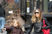 Sarah jessica Parker pulls a double duty school run this morning as she first walks her shaggy haired son James Wilkie (b. October 28, 2002) to class. Parker is then accompanied by a nanny as she takes her twin daughter Tabitha and Marion (b.