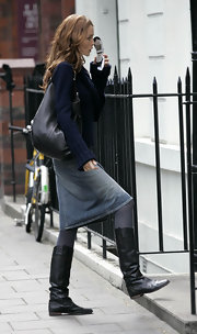 Saffron Burrows' flat boots were a perfect blend of comfort and style.