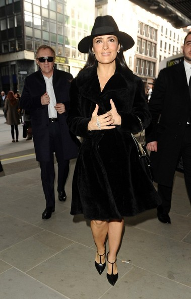 Salma Hayek Fur Coat