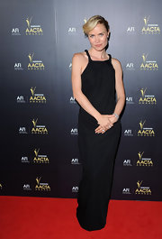 Radha Mitchell looked elegant in this black column dress for the Samsung AACTA Awards.