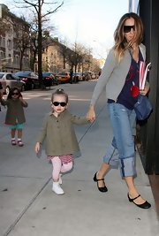 Sarah Jessica Parker threw on a comfy-looking pair or black leather flats before taking her children to school.