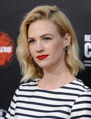 January Jones' earrings perfectly coordinated with her monochrome dress at the Rebels with a Cause event.