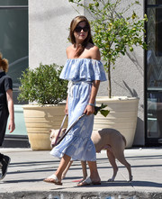 Selma Blair paired white thong sandals with a blue off-the-shoulder dress for a day out in LA.