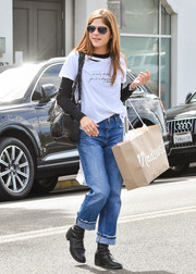Selma Blair went shopping in LA wearing an n:Philanthropy X @OverheardLA 'We only dated for 11 Instagrams' tee.