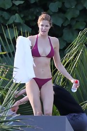 Stephanie Seymour rocked a tiny purple halter bikini during a vacation at St. Barts.