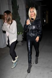 Shauna Sand kept warm in edgy style with a black puffer jacket and leather pants while out shopping in Beverly Hills.