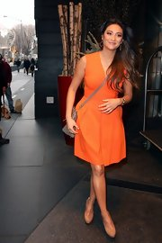Shay Mitchell wore this citrus pleated dress out in NY.