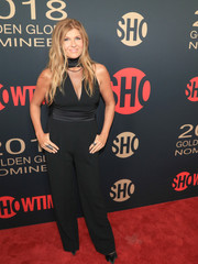 Connie Britton flashed some cleavage in a black cutout jumpsuit at the Showtime Golden Globe nominees celebration.