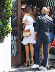 Sofia Vergara headed to Cecconi's for lunch carrying a Chloe Drew bag, in raffia and leather.