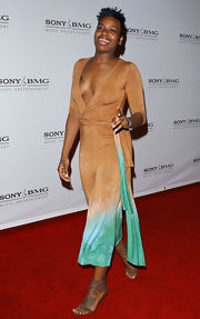 Fantasia Barrino arrived at the Sony BMG Grammy party in a tie-dye jumpsuit.