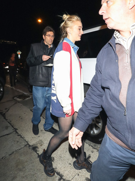 More Pics of Sophie Turner Leather Sneakers (1 of 11) - Athletic Shoes Lookbook - StyleBistro []