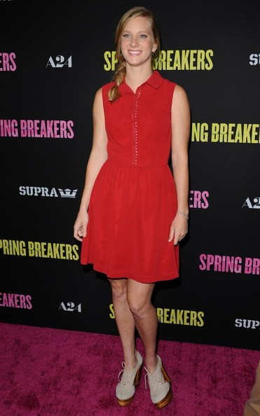 Heather Morris opted for a fun and flirty red frock for the premiere of 'Spring Breakers' in Hollywood.