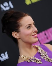 Eva Amurri Martino opted for a classic bun for her red carpet look at 'Spring Breakers.'