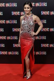Vanessa Hudgens looked fiercely gorgeous in this heavily beaded crimson dress at the 'Spring Breakers' Madrid premiere.