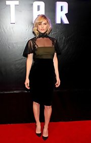 Alice Eve chose a stylish black dress with a netted high-neck top for her look at the premiere of 'Star Trek Into Darkness' in Mexico.