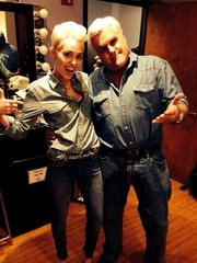 Miley Cyrus twinned with Jay Leno in this Saint Laurent chambray button-down.