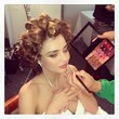 Miranda Kerr Wears Rollers in Her Hair