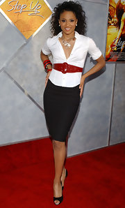 Ciara tried out the sexy secretary look at the premiere of 'Step Up' in a fitted white blouse.